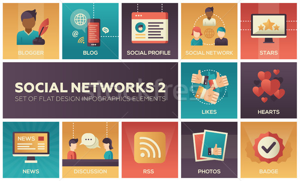 Social networks - modern set of flat design infographics elements Stock photo © Decorwithme