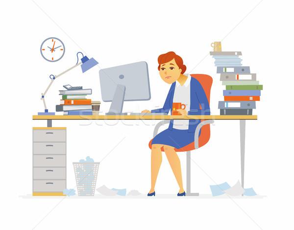 Fáradt irodai dolgozó modern rajzolt emberek betűk illusztráció Stock fotó © Decorwithme