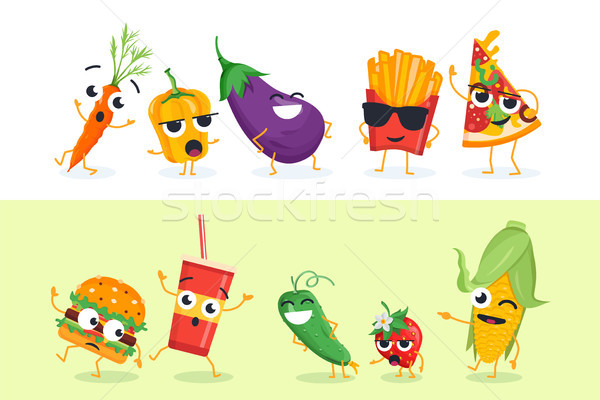 Grappig groenten fast food ingesteld vector Stockfoto © Decorwithme