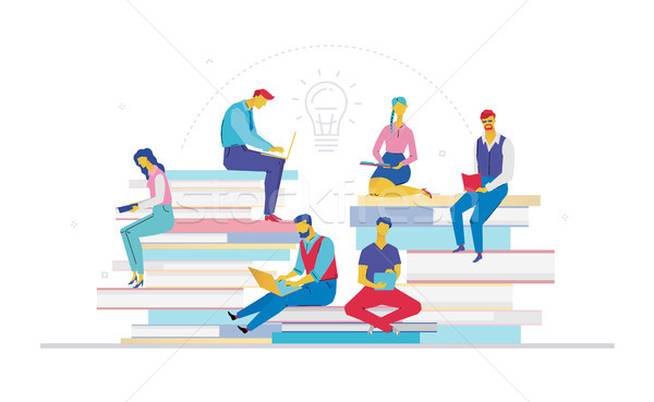Business team searching for ideas - flat design style colorful illustration Stock photo © Decorwithme