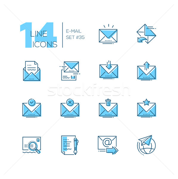 Email - set of line design style icons Stock photo © Decorwithme