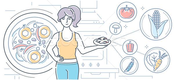 Foto stock: Comida · vegetariana · colorido · línea · diseno · estilo · ilustración