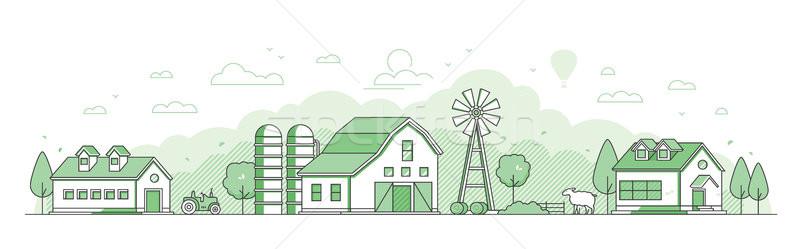 Land landschap dun lijn ontwerp stijl Stockfoto © Decorwithme