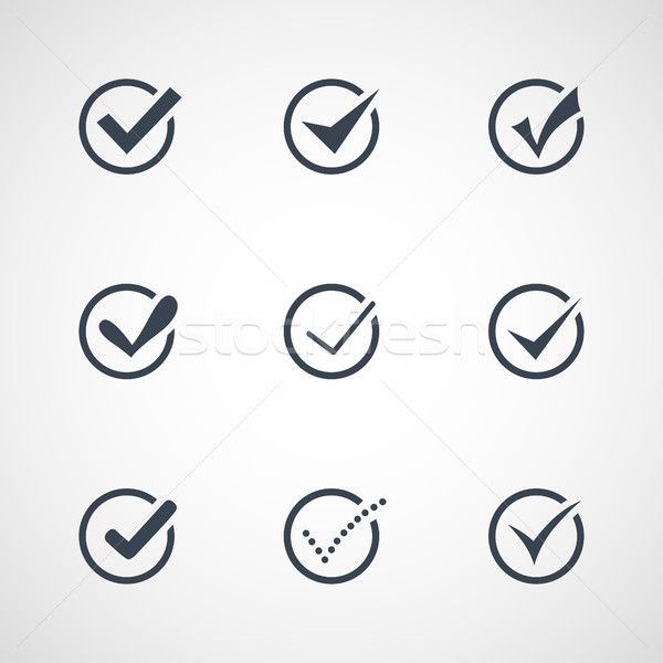 Illustration of modern confirm icons set Stock photo © Decorwithme