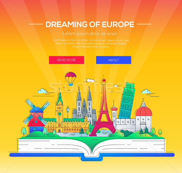 Europa vector línea viaje ilustración Foto stock © Decorwithme