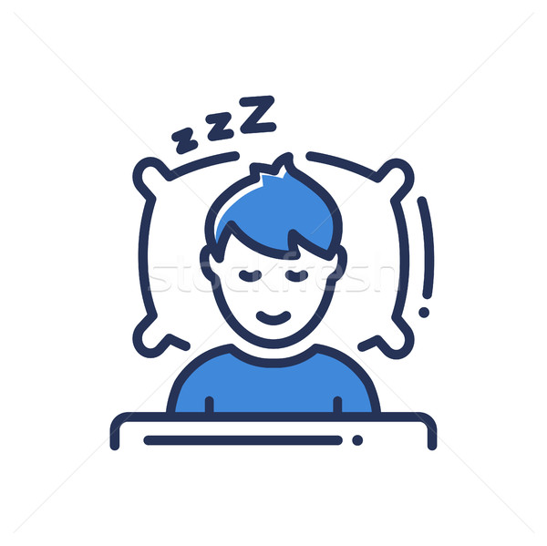 Sleep - modern vector single line icon Stock photo © Decorwithme