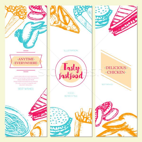 Fast food - color hand drawn square template banner. Stock photo © Decorwithme