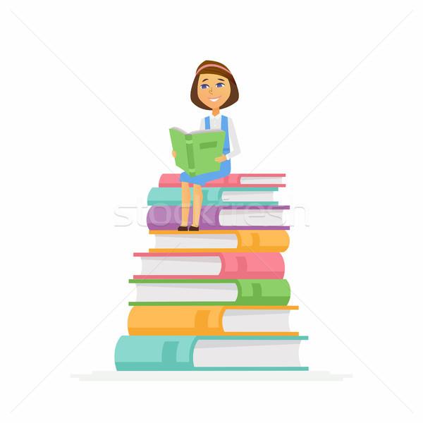 Uczennica charakter szczęśliwy dziecko posiedzenia książek Zdjęcia stock © Decorwithme