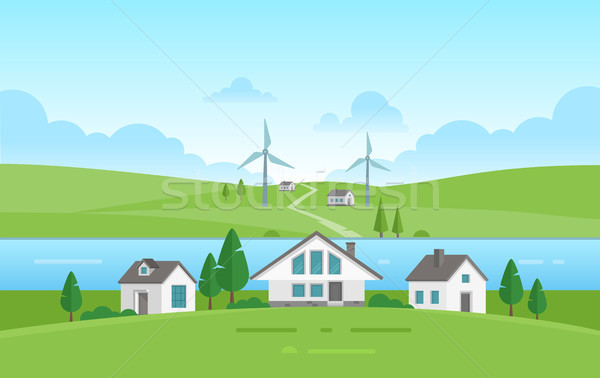 Small houses by the river - modern vector illustration Stock photo © Decorwithme