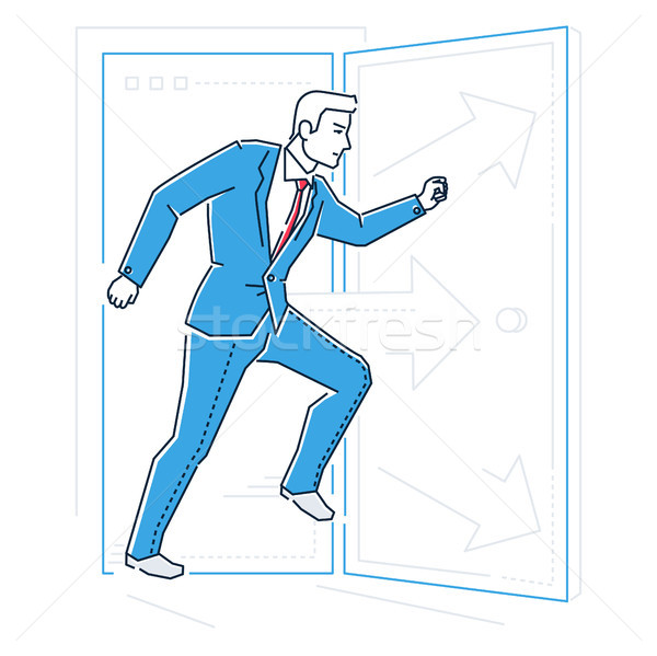 Businessman rushing through the door - line design style illustration Stock photo © Decorwithme
