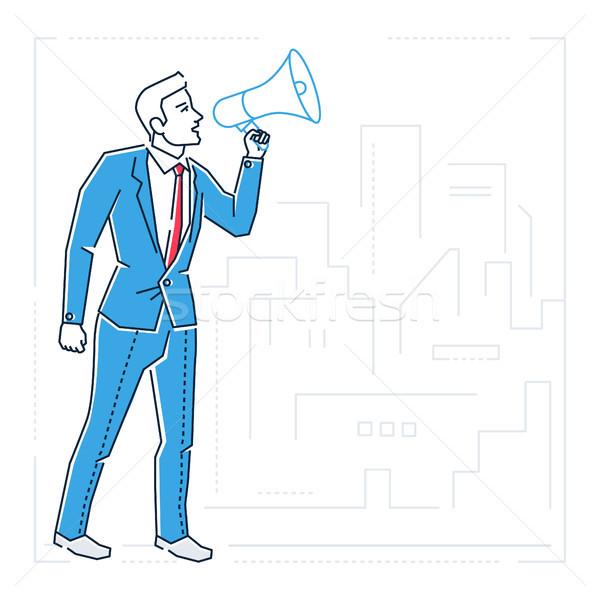 üzletember megafon vonal terv stílus izolált Stock fotó © Decorwithme