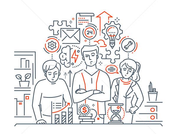 Team work - modern line design style illustration Stock photo © Decorwithme
