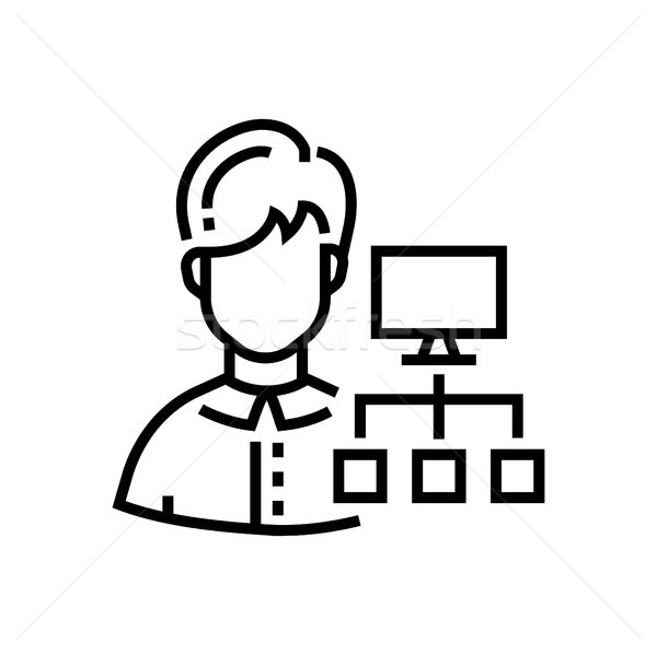 Social networking - line design single isolated icon Stock photo © Decorwithme