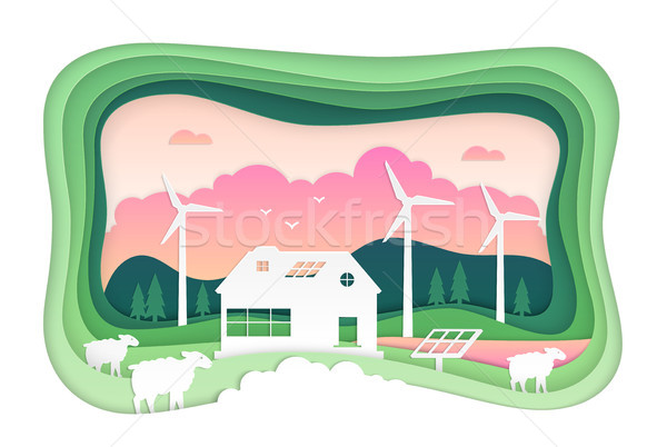 Eco farming - modern vector paper cut illustration Stock photo © Decorwithme