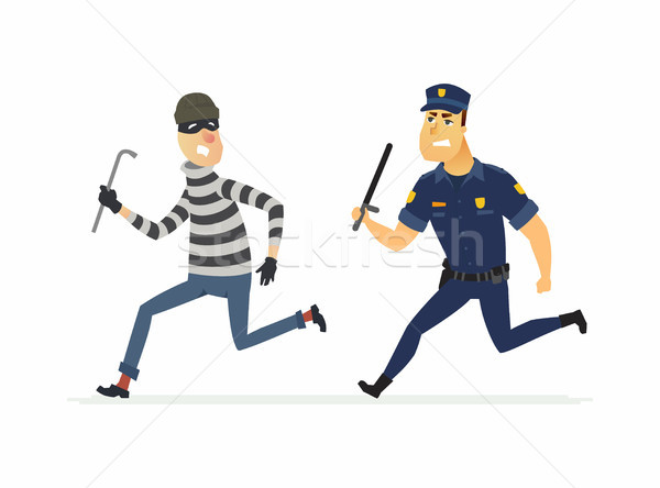 Burglar and policeman - cartoon people characters illustration Stock photo © Decorwithme