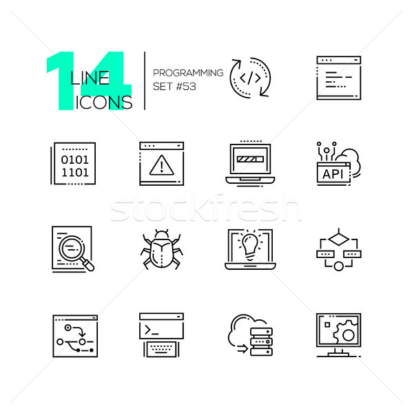 Programming - modern thin line design icons set Stock photo © Decorwithme