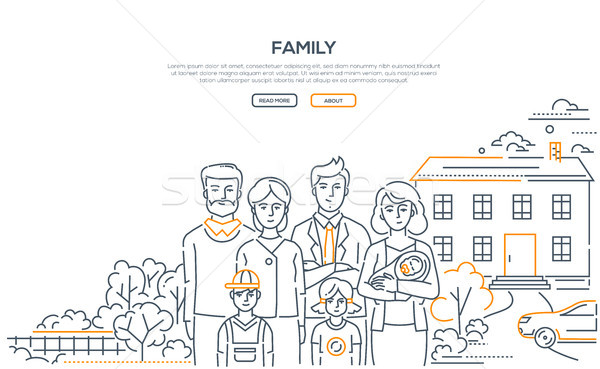 Family - line design style banner with place for text Stock photo © Decorwithme