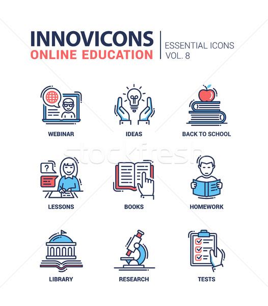 Online onderwijs lijn ontwerp moderne Stockfoto © Decorwithme