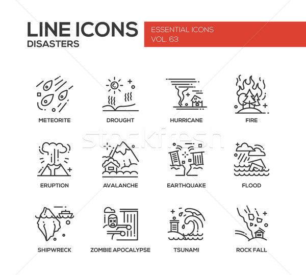 Disasters - line design icons set Stock photo © Decorwithme
