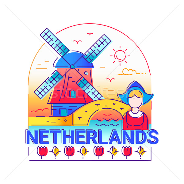 Netherlands - modern vector line travel illustration Stock photo © Decorwithme
