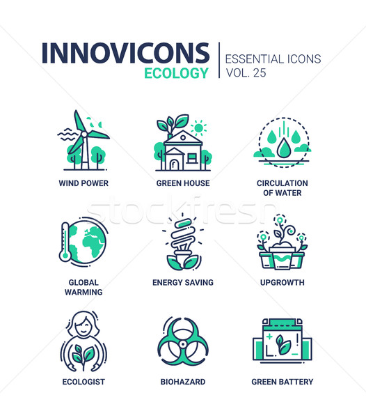 Ecology - modern color vector single line icon set Stock photo © Decorwithme