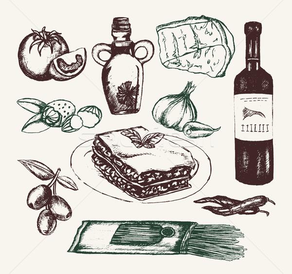 Comida italiana dibujado a mano vector realista aceite de oliva ajo Foto stock © Decorwithme