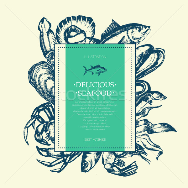 Delicious Seafood - modern drawn square postcard template. Stock photo © Decorwithme