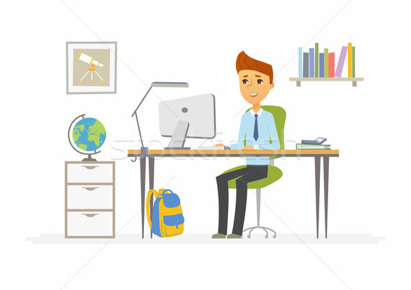 Online education - illustration of boy student at home computer Stock photo © Decorwithme