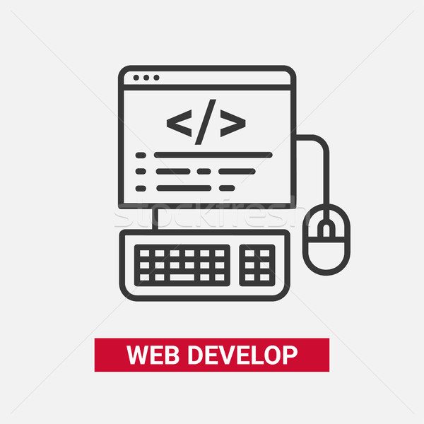 Web Develop - modern essential vector line design icon. Stock photo © Decorwithme