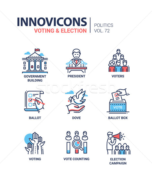 Voting and election - set of modern thin line design icons Stock photo © Decorwithme