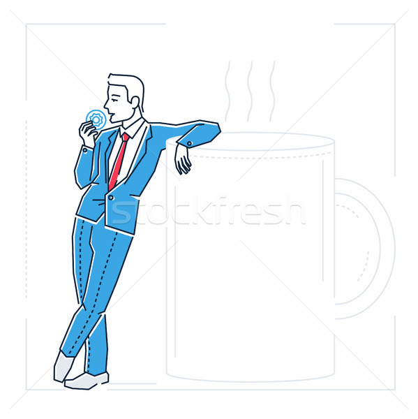 Businessman on a coffee break - line design style isolated illustration Stock photo © Decorwithme