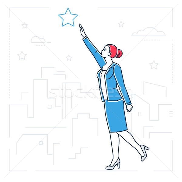 Businesswoman reaching out the star - line design style isolated illustration Stock photo © Decorwithme
