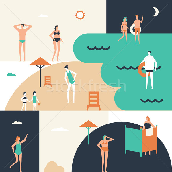 Strandurlaub Design Stil Illustration cute Karikatur Stock foto © Decorwithme