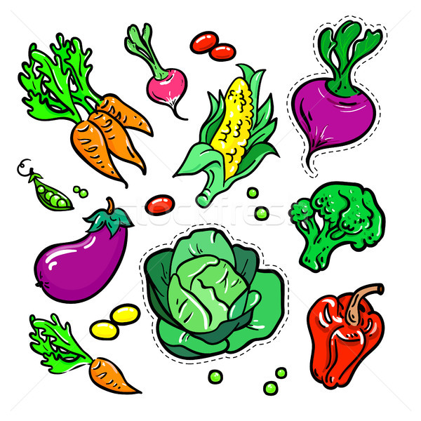 Сток-фото: овощей · вектора · изолированный · ретро · набор