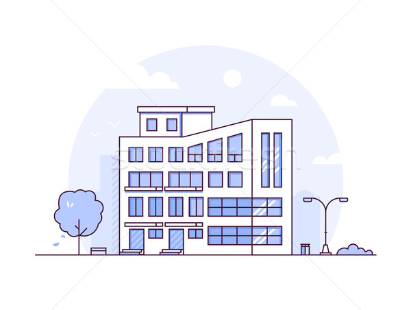 Cityscape - modern thin line design style vector illustration Stock photo © Decorwithme