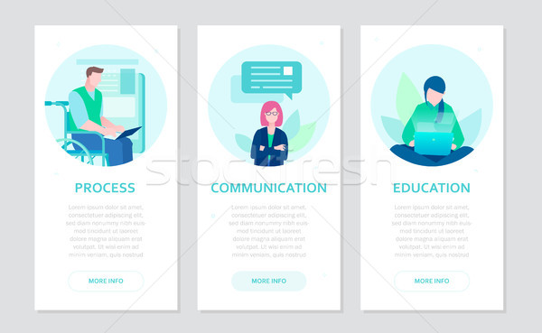 Effective work - set of flat design style banners Stock photo © Decorwithme