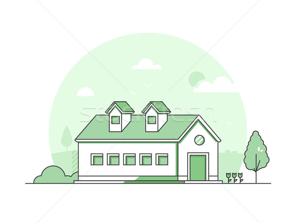 Farm house - modern thin line design style vector illustration Stock photo © Decorwithme