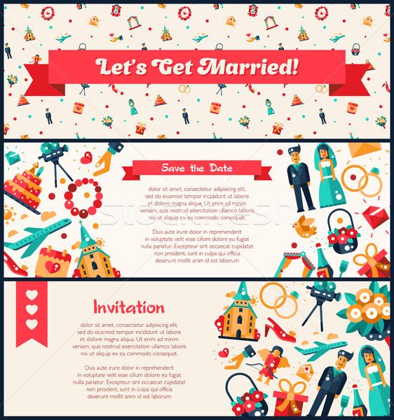 Proiect nuntă căsătorie invitaţie bannere vector Imagine de stoc © Decorwithme