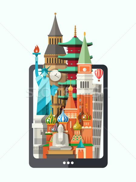 Ontwerp illustratie wereld beroemd display iconen Stockfoto © Decorwithme