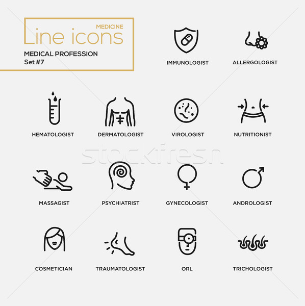 Medical profession simple thin line design icons, pictograms set Stock photo © Decorwithme