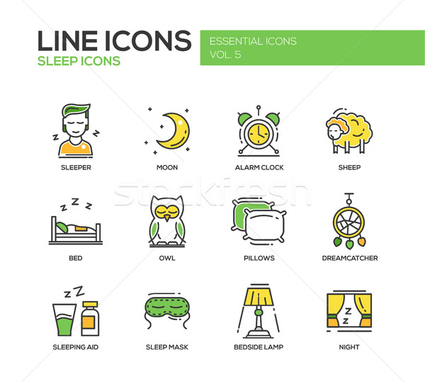 Sleeping - line design icons set Stock photo © Decorwithme