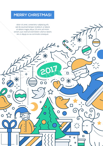 Merry Christmas - line design brochure poster template A4 Stock photo © Decorwithme