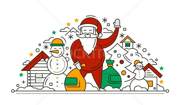 Vrolijk christmas gelukkig nieuwjaar lijn ontwerp kaart Stockfoto © Decorwithme