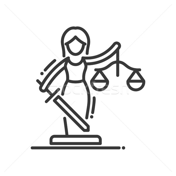 Justice - vector modern line design illustrative icon Stock photo © Decorwithme