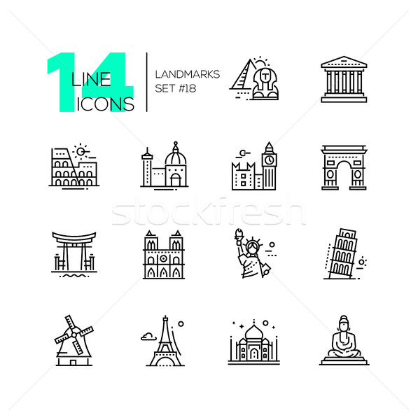 Landmarks - modern single line icons set Stock photo © Decorwithme