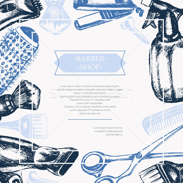 Barber Equipment - vector hand drawn postcard template Stock photo © Decorwithme