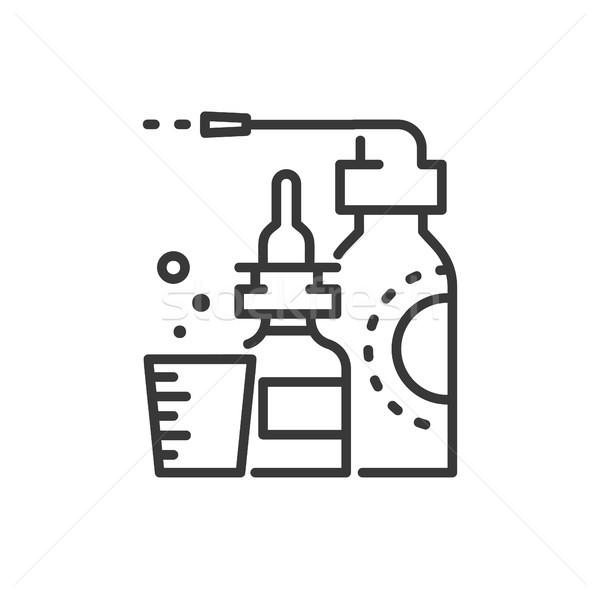 Medicines - line design single isolated icon Stock photo © Decorwithme