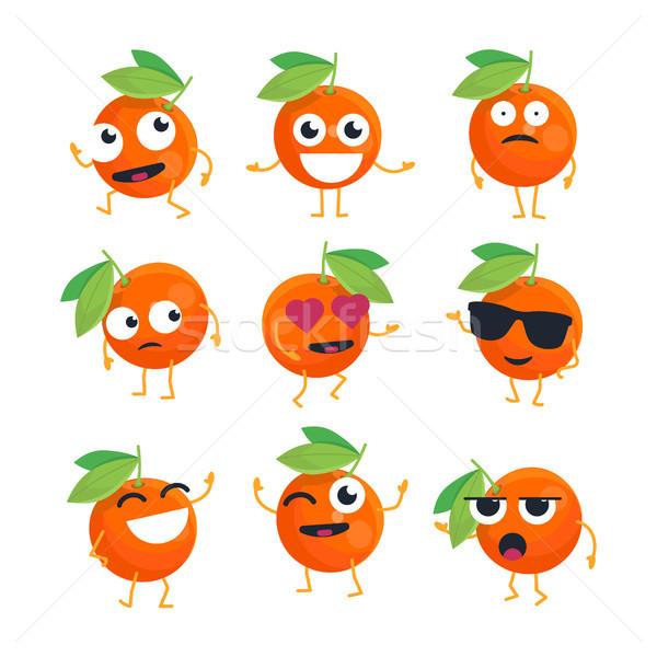 Portakal vektör yalıtılmış karikatür komik Stok fotoğraf © Decorwithme