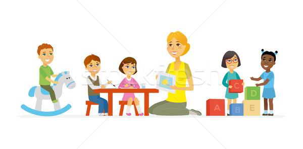 Kindergarten - cartoon people characters isolated illustration Stock photo © Decorwithme