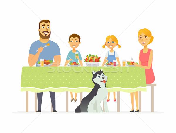 Boldog család vacsora együtt modern rajzolt emberek betűk Stock fotó © Decorwithme